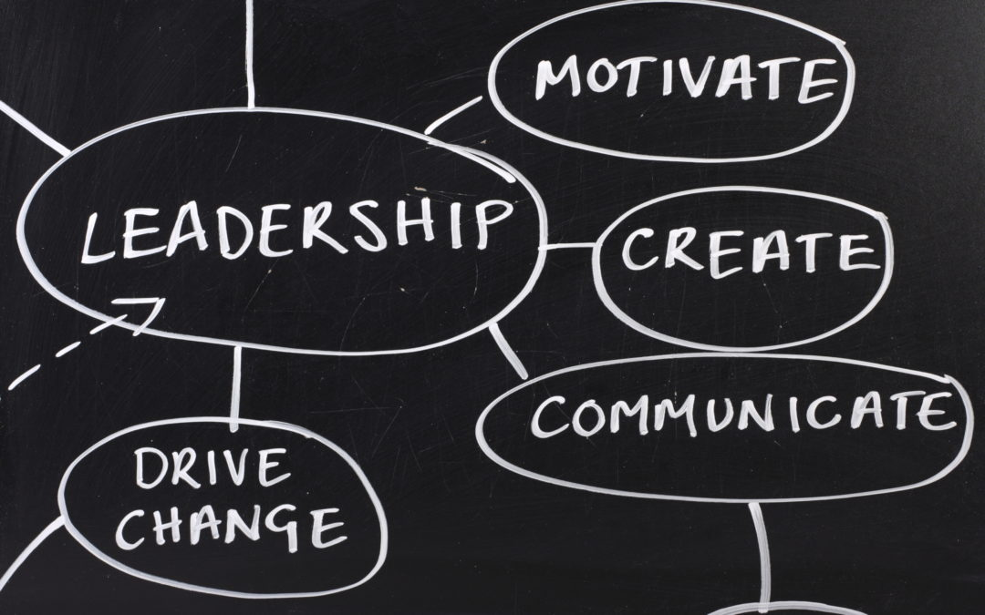 Words that define good leadership written on a board