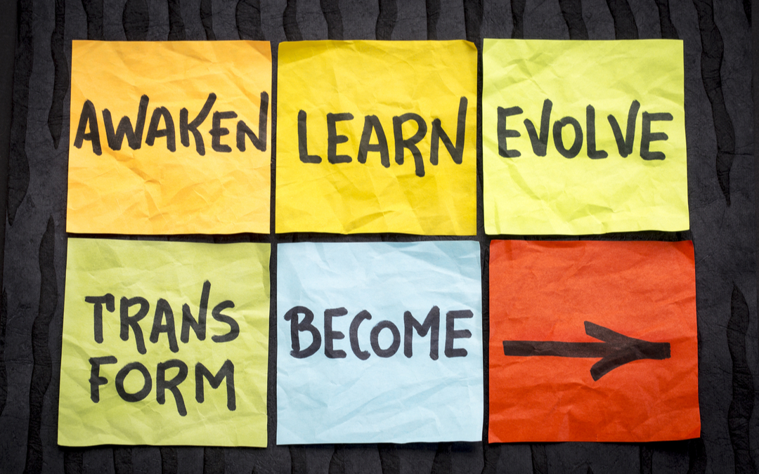 Change readiness process depicted as steps outlines on sticky notes: Awaken, Learn, Evolve, Transform, Become